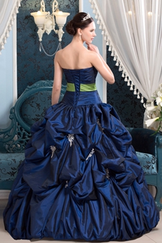 Stunning Ball Gown Full Length Dark Royal Blue Taffeta Quinceanera Dress With Lime Green Sash