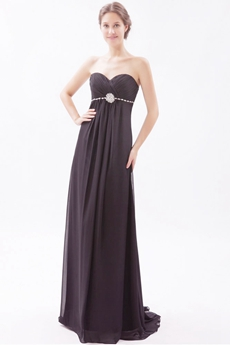 Graceful Empire Full Length Black Chiffon Evening Dress For Pregnancy Women