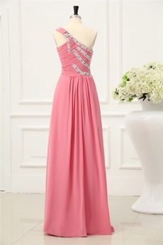 Grecian One Shoulder A-line Peach Mother of Bride Dress