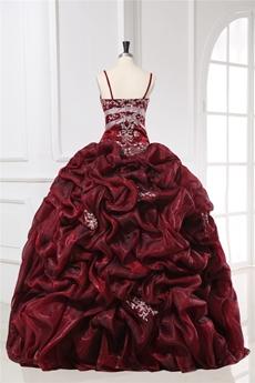 Exquisite Spaghetti Straps Burgundy Masquerade Dresses for Quinceanera