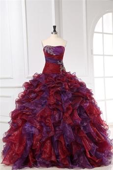 Vintage Burgundy & Purple Multi-colored Quinceanera Party Dresses