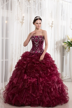 Gothic Strapless Neckline Ball Gown Full Length Burgundy Organza Quinceanera Dresses With Folded Skirt