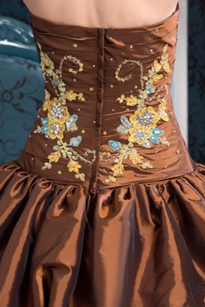 Brilliant Sweetheart Ball Gown Full Length Taffeta Brown Quinceanera Dress 2016 Four Tiered