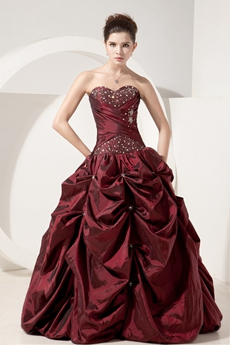 Vintage Sweetheart Ball Gown Full Length Taffeta Burgundy Sweet Fifteen Dress