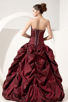 Vintage Sweetheart Ball Gown Full Length Taffeta Burgundy Sweet Fifteen Dress