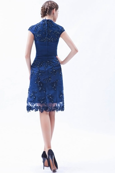 Cap Sleeves Knee Length Navy Blue Mother Of The Groom Dress