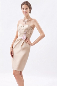 Column Mini Length Sweetheart Champagne Wedding Guest Dress