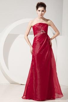 Decent Strapless A-line Burgundy Organza Mother Dress With Jacket