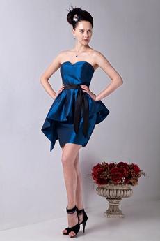 Dazzling Sweetheart Mini Length Turquoise Taffeta Cocktail Dress With Black Sash