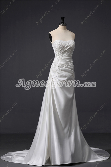 Traditional Satin Amazing Wedding Dresses With Shawl