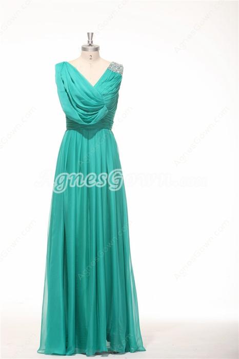 V-Neckline Straight Full Length Teal Colored Bridesmaid Dress