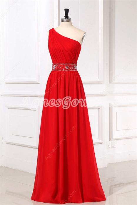 Simple One Shoulder Column Red Chiffon Bridesmaid Dress