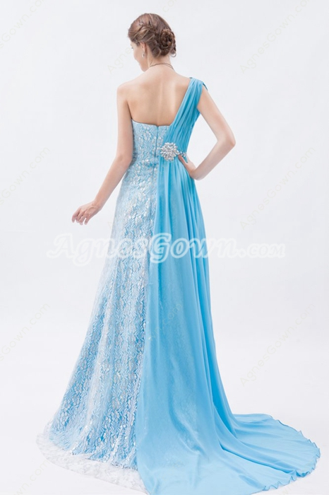 Charming One Straps A-line Chiffon And Lace Celebrity Dress