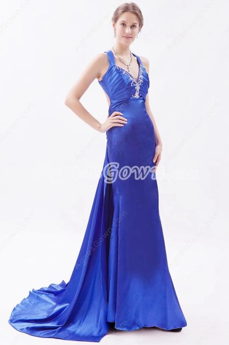 Sexy Royal Blue Satin Celebrity Evening Dress