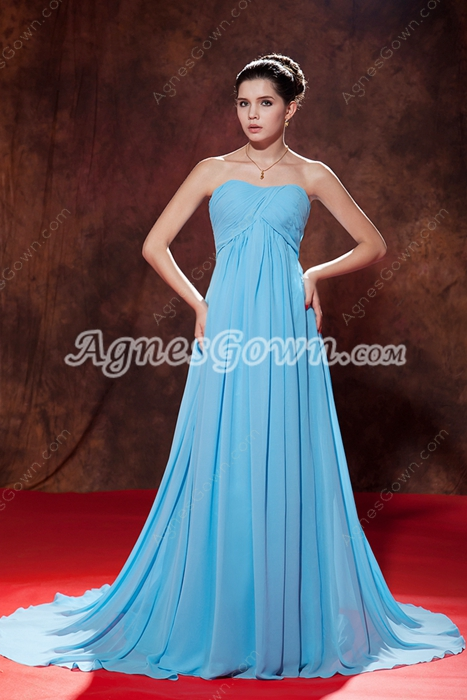 Noble Empire Full Length Blue Chiffon Matenrity Prom Gown 2016