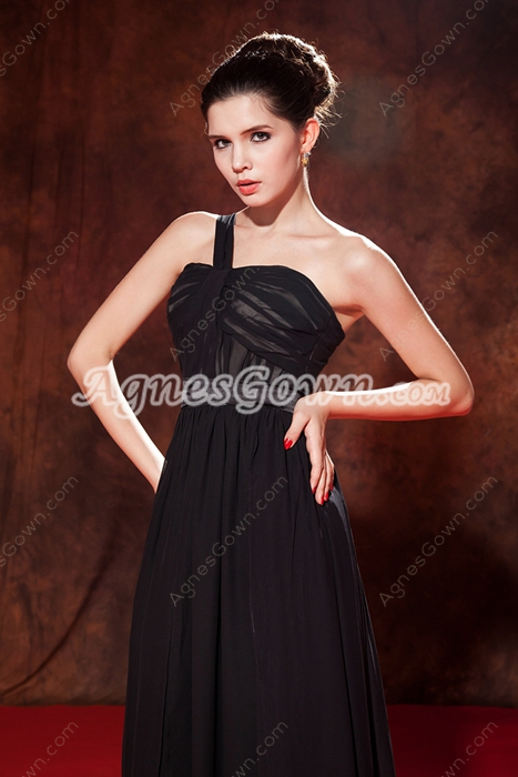 Modest One Shoulder A-line Black Chiffon Prom Dress