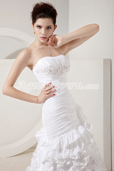 Terrific Dipped Neckline White Taffeta Ruffled Wedding Dress Corset Back