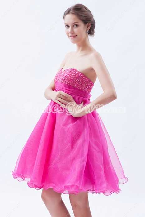 Empire Knee Length Fuchsia Organza Homecoming Dress