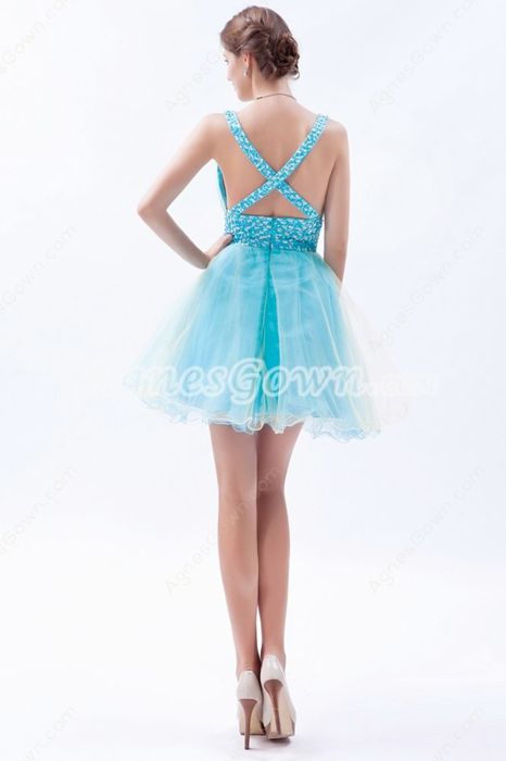 Sassy Plunge Neckline Puffy Mini Length Homecoming Dress