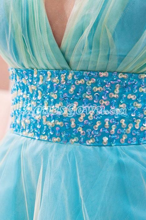 Sassy Plunge Neckline Puffy Mini Length Homecoming Dress