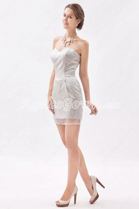 Sheath Mini Length Silver Sequins Cocktail Dress