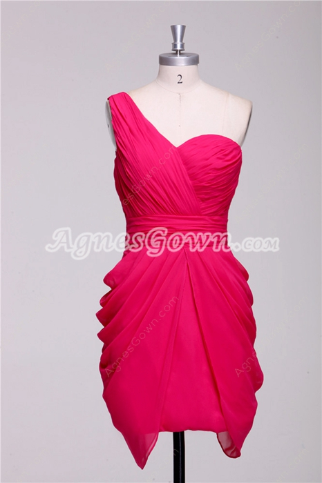 One Shoulder Sheath Mini Length Fuchsia Cocktail Gown
