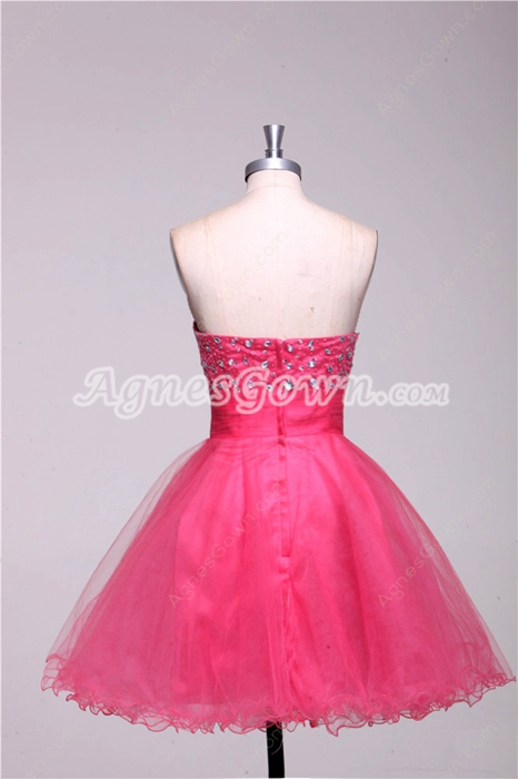 Strapless Puffy Mini Length Hot Pink Tulle Damas Dress