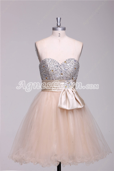 Lovely Sweetheart Short Length Champagne Damas Dress With Great Handwork