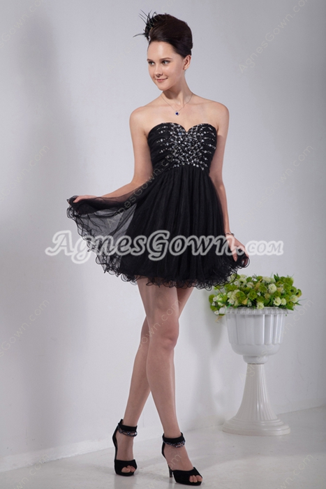 Lovely Sweetheart Puffy Mini Length Black Homecoming Dress