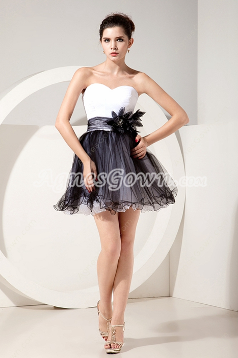 Adorable Mini Length White And Black Tulle Damas Dress