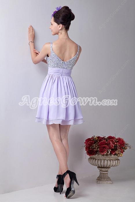 Adorable Spaghetti Straps A-line Mini Length Lilac Homecoming Dress
