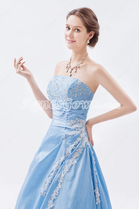 Dazzling Strapless Light Sky Blue Taffeta Princess Sweet Fifteen Dress
