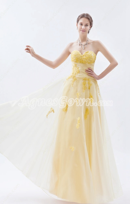 Pretty Sweetheart Pale Yellow Organza Princess Quinceanera Dress