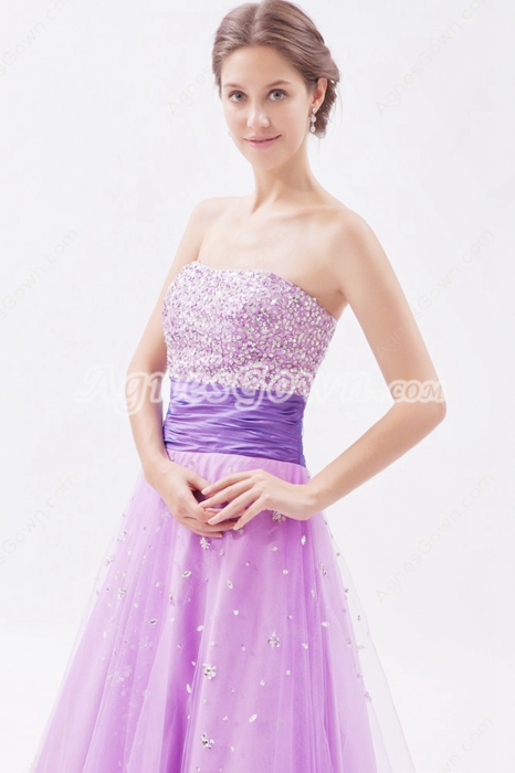 Impressive Dipped America Tulle Lilac Princess Quinceanera Dress