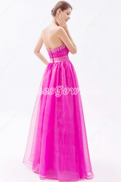Pretty Sweetheart Puffy Floor Length Fuchsia Organza Princess Quinceanera Dress