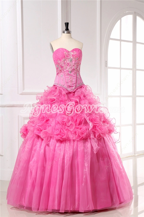 Pretty Pink Quinceanera Dresses with Basque Waistline