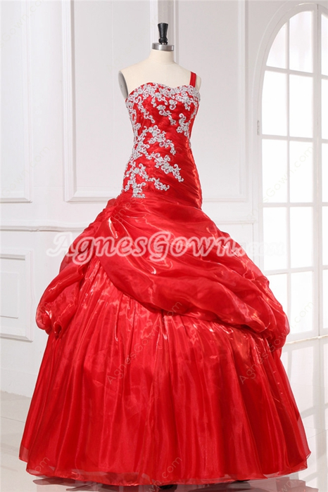 Modern Red One Shoulder Prom Dresses With Appliqued Bodice