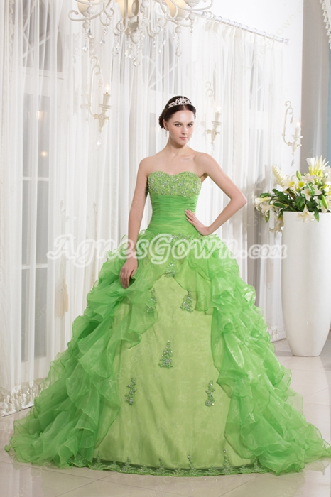 Beautiful Dipped Neckline Ball Gown Ruffled Organza Lime Green Quinceanera Dress