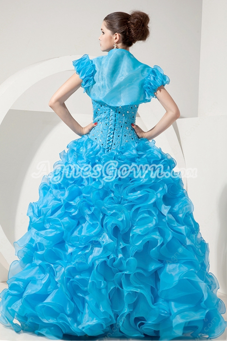 Sassy Sweetheart Ball Gown Organza Blue Ruffled Quinceanera Dress With Short Sleeves Bolero