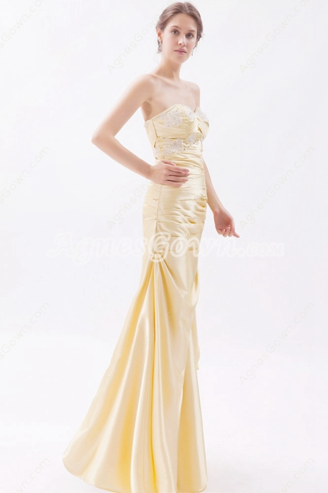 Modest Sweetheart Column Yellow Satin Bridesmaid Dress