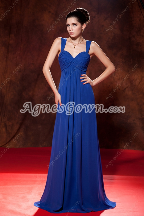 Classy Double Straps A-line Royal Blue Chiffon Junior Prom Dress