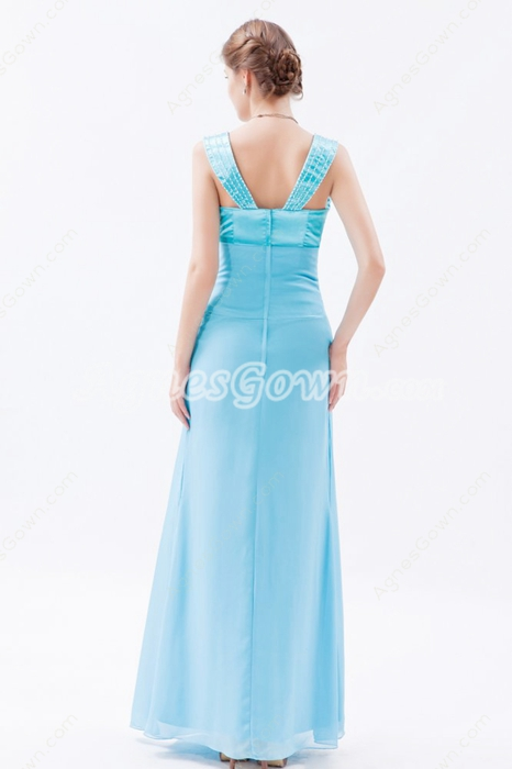 Straps Column Full Length Blue Chiffon Mother Of The Bride Dress With Jacket