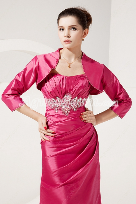 Charming Sweetheart A-line Fuchsia Taffeta Mother Of The Bride Dress With Jacket