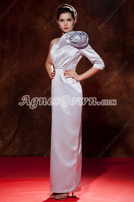 3/4 Sleeves Column Ankle Length Silver Gray Mother Of The Bride Dress
