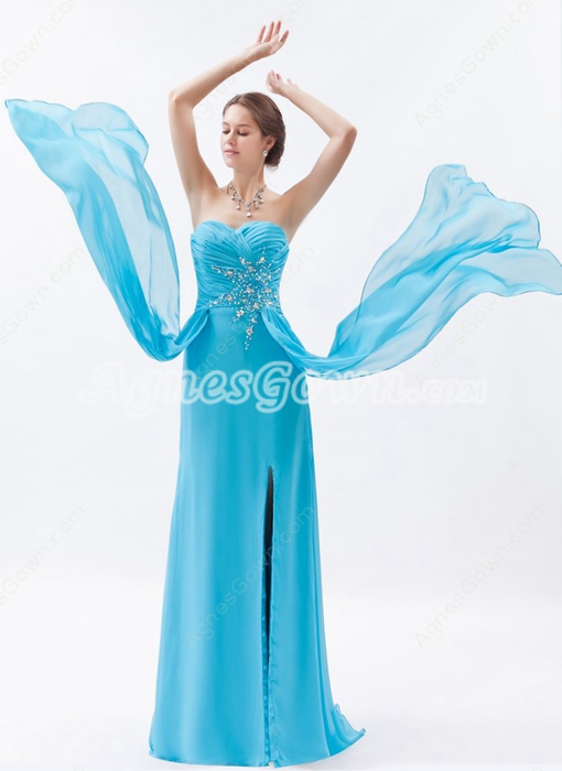 Sassy Sweetheart A-line Full Length Blue Chiffon Evening Dress Front Slit