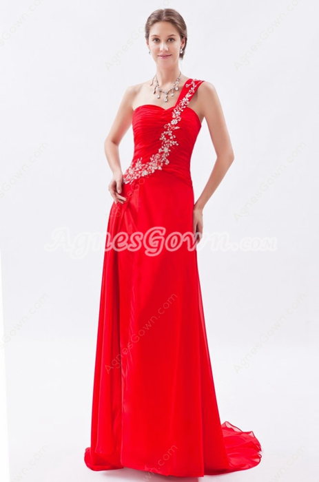 Graceful One Straps A-line Red Chiffon Prom Dress