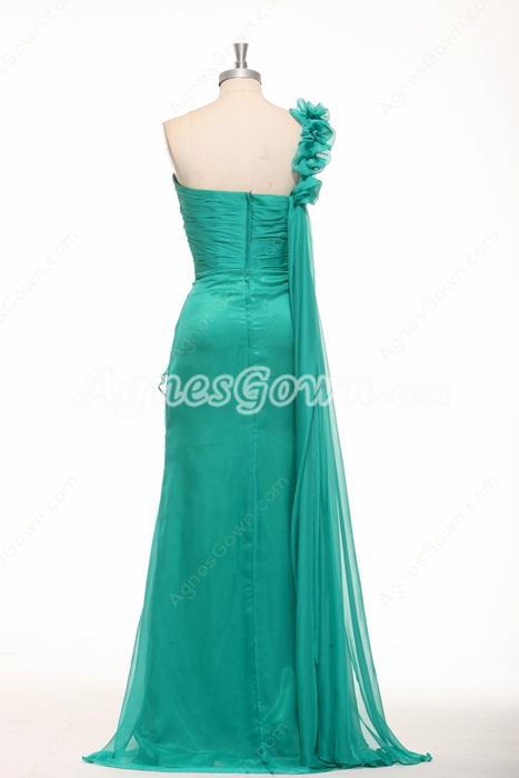 Fantastic One Shoulder Chiffon Teal High Low Graduation Dress