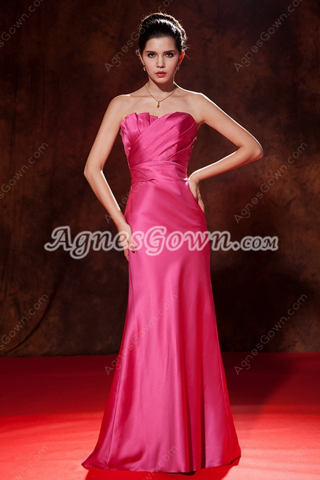 Wonderful Sweetheart A-line Fuchsia Prom Dress With Ruched Bodice