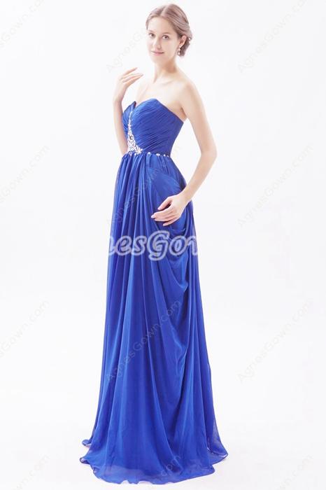 Stylish Sweetheart Chiffon Royal Blue Plus Size Prom Dress
