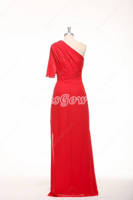 One Shoulder Short Sleeves High Low Red Chiffon High School Graduation Dress